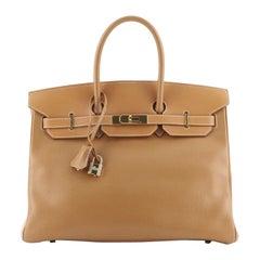 Hermes Birkin Handbag Natural Ardennes with Gold Hardware 35