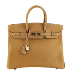Hermes Birkin Handbag Natural Ardennes with Gold Hardware 35