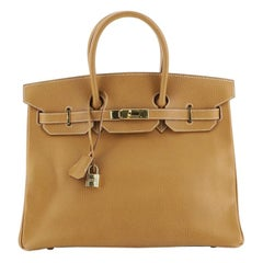 Hermes Birkin Handbag Natural Ardennes with Gold Hardware 35,