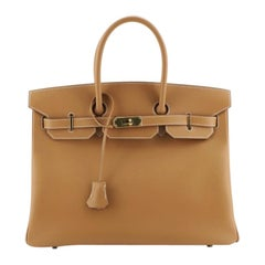 Hermes Birkin Handbag Natural Chamonix With Gold Hardware 35