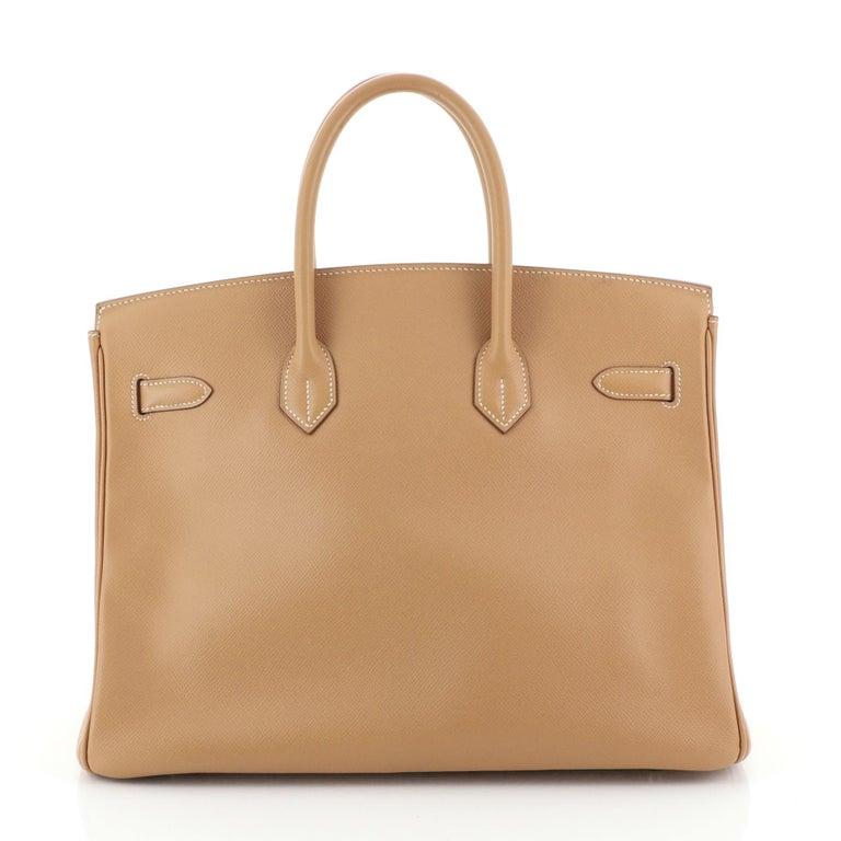 Women's or Men's Hermes Birkin Handbag Natural Courchevel with Gold Hardware 35 For Sale