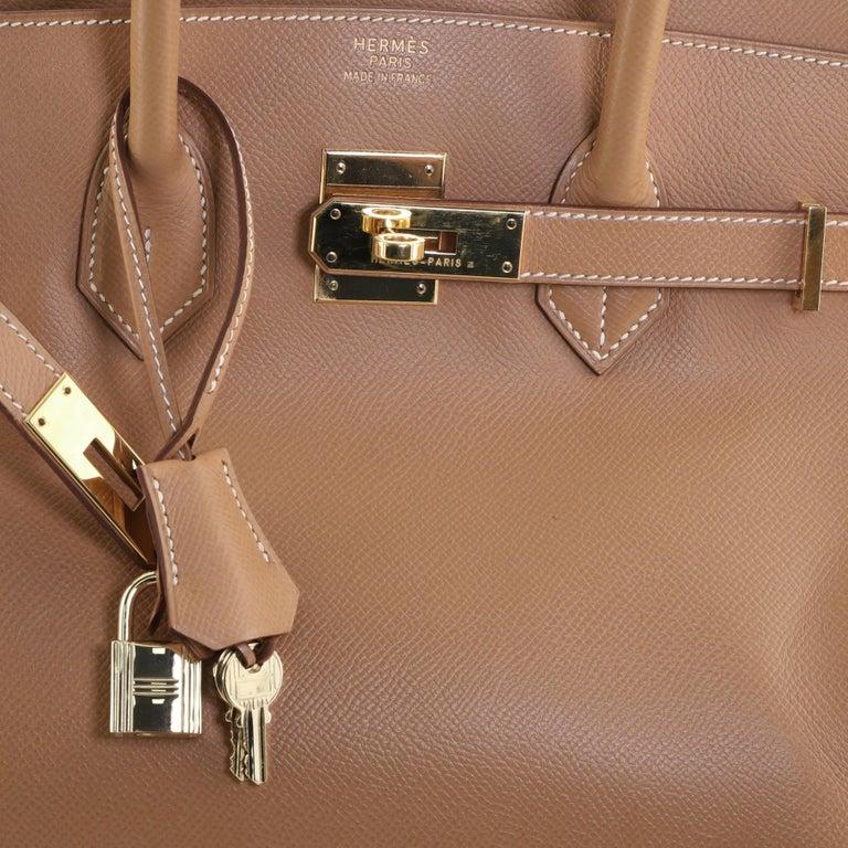 Hermes Birkin Handbag Natural Courchevel with Gold Hardware 35 For Sale 3