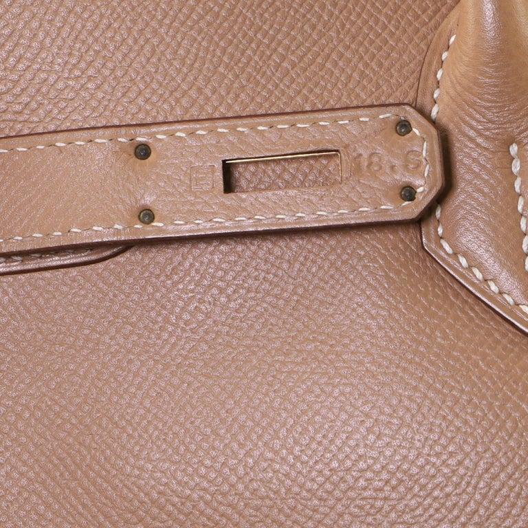 Hermes Birkin Handbag Natural Courchevel with Gold Hardware 35 For Sale 4