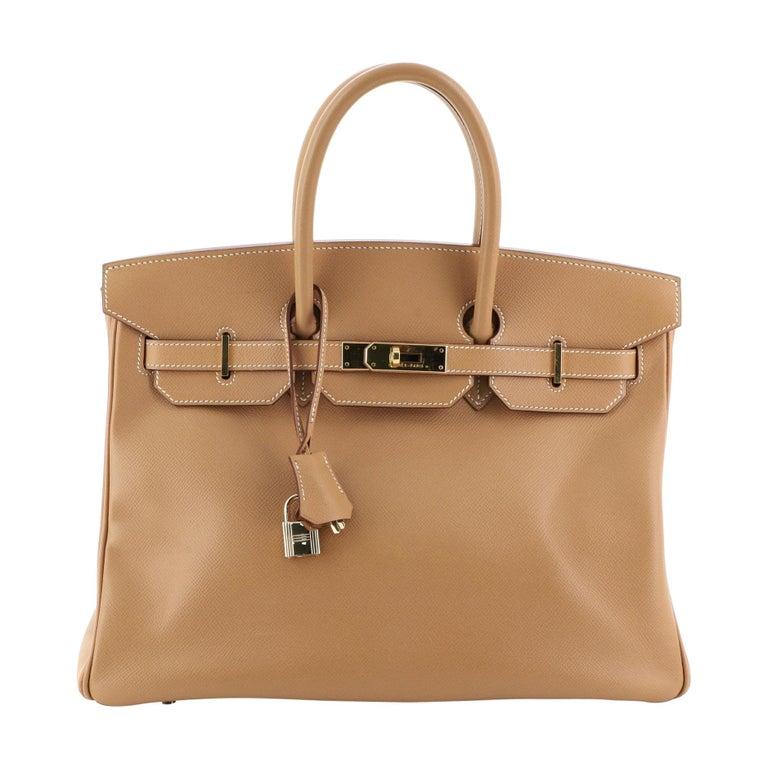 Hermes Birkin Handbag Natural Courchevel with Gold Hardware 35 For Sale