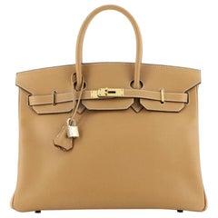 Hermes Birkin Handbag Natural Epsom with Gold Hardware 35