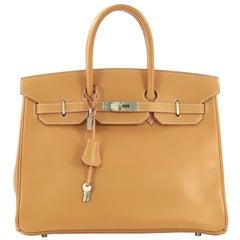 Hermes Birkin Handbag Natural Vache Naturelle with Brushed Palladium Hardware 35