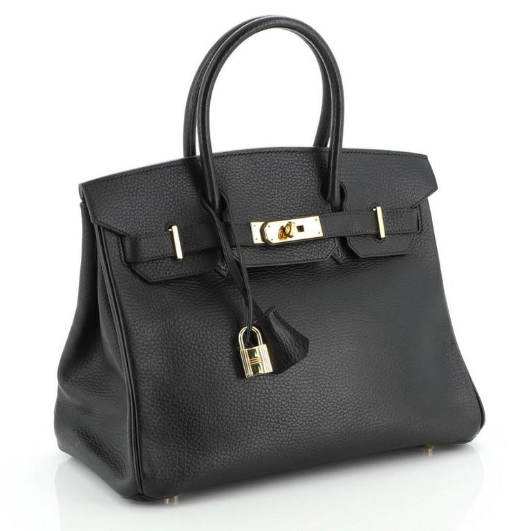 Hermes Birkin Handbag Noir Ardennes with Gold Hardware 30 In Good Condition For Sale In New York, NY