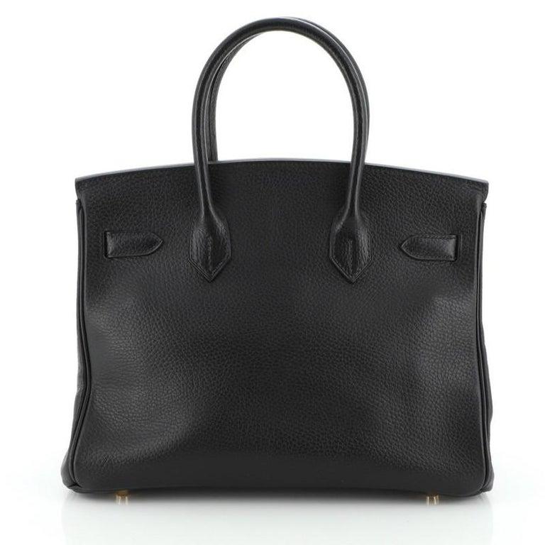 Women's or Men's Hermes Birkin Handbag Noir Ardennes with Gold Hardware 30 For Sale
