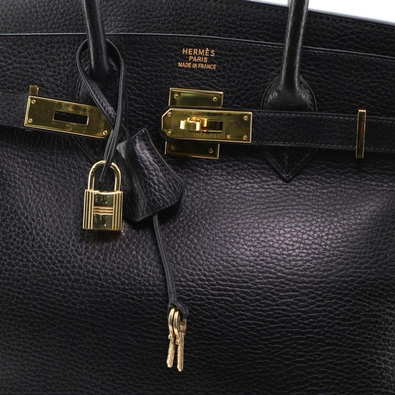 Hermes Birkin Handbag Noir Ardennes with Gold Hardware 30 For Sale 3