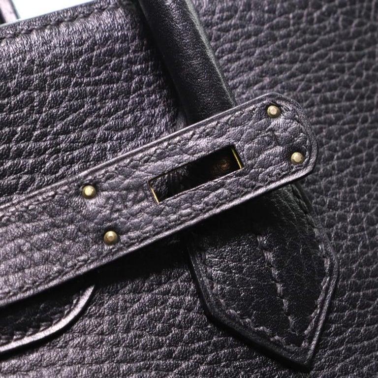 Hermes Birkin Handbag Noir Ardennes with Gold Hardware 30 For Sale 4