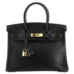 Hermes Birkin Handbag Noir Ardennes with Gold Hardware 30