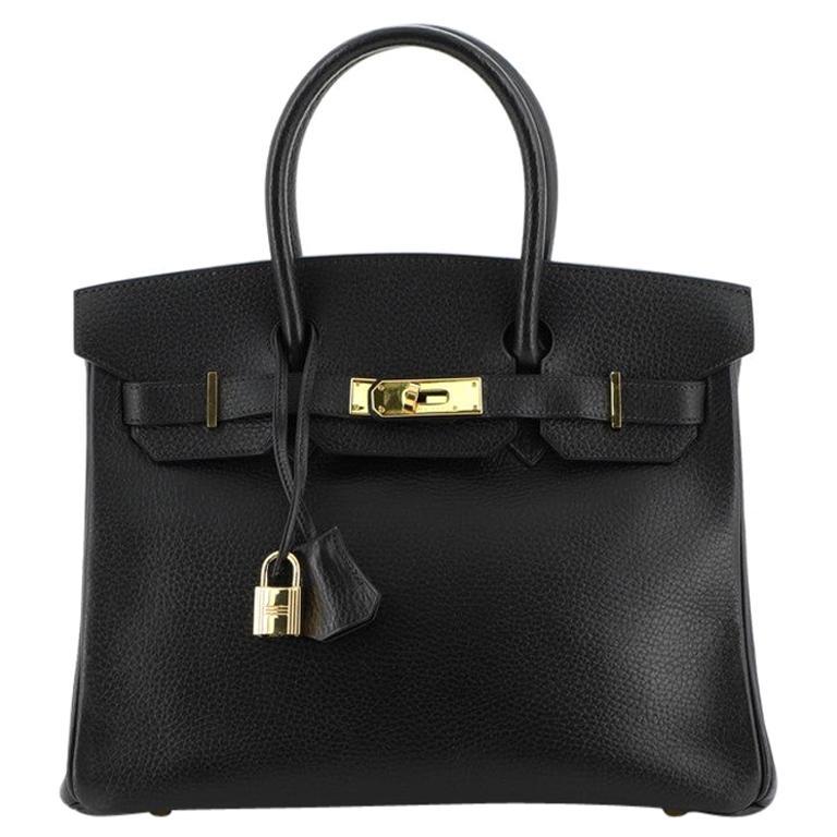 Hermes Birkin Handbag Noir Ardennes with Gold Hardware 30 For Sale