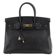Hermes Birkin Handbag Noir Ardennes With Gold Hardware 35