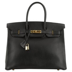 Hermes  Birkin Handbag Noir Ardennes with Gold Hardware 35