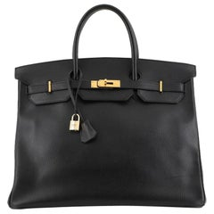 Hermes Birkin Handbag Noir Ardennes with Gold Hardware 40
