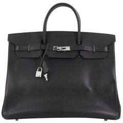 Hermes Birkin Handbag Noir Ardennes with Palladium Hardware 40