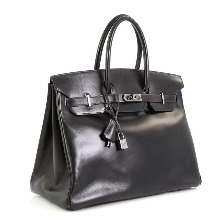 Black Hermes Birkin Handbag Noir Box Calf with Palladium Hardware 35 For Sale