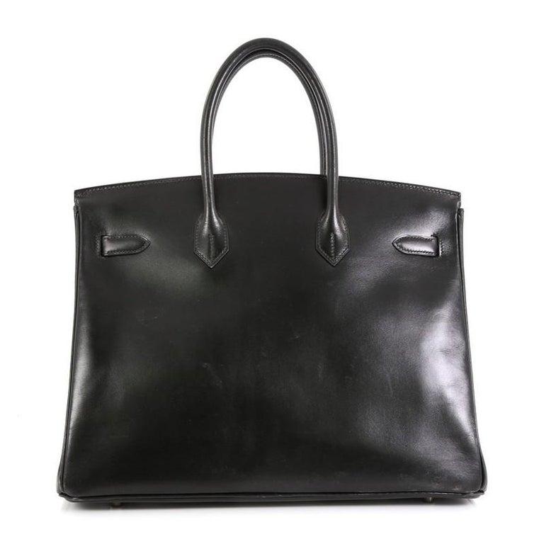 Hermes Birkin Handbag Noir Box Calf with Palladium Hardware 35 In Good Condition For Sale In New York, NY