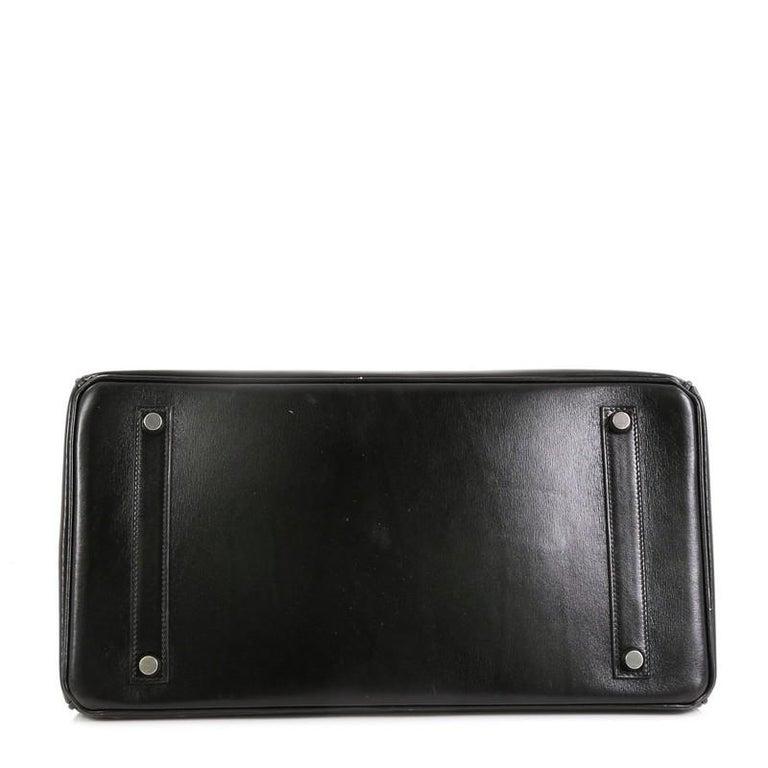Women's Hermes Birkin Handbag Noir Box Calf with Palladium Hardware 35 For Sale