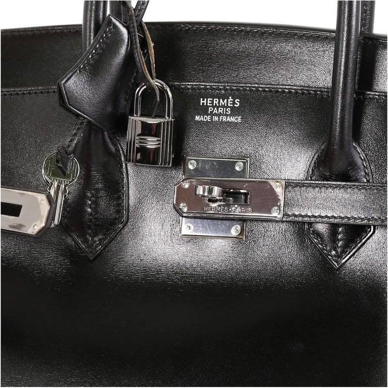 Hermes Birkin Handbag Noir Box Calf with Palladium Hardware 35 For Sale 1