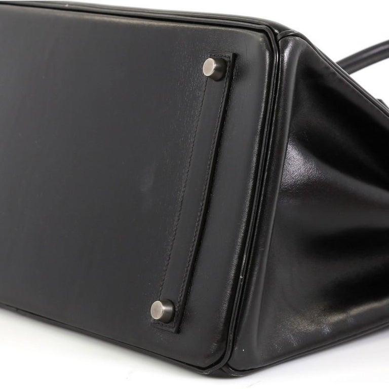Hermes Birkin Handbag Noir Box Calf with Palladium Hardware 35 For Sale 2