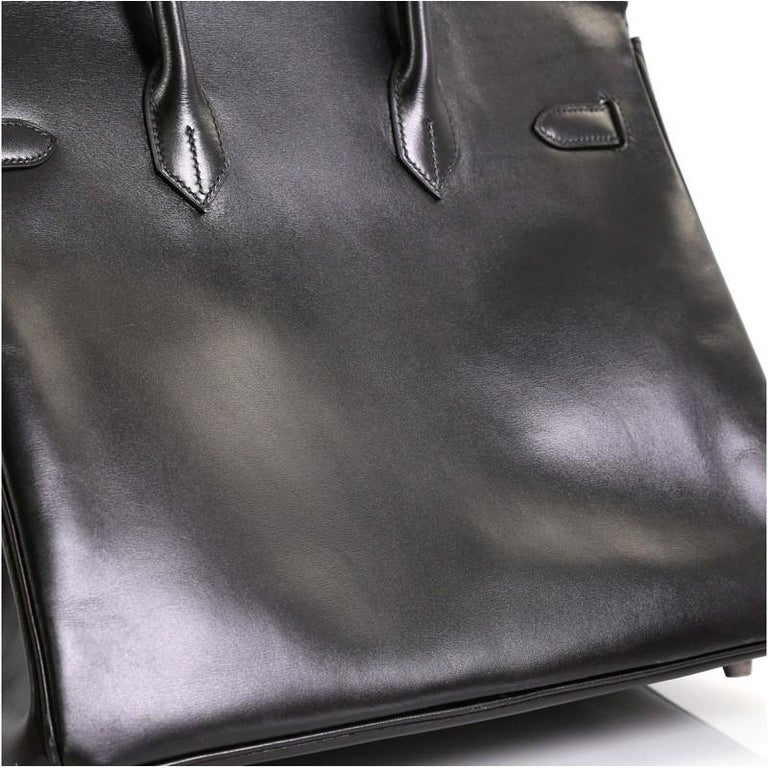 Hermes Birkin Handbag Noir Box Calf with Palladium Hardware 35 For Sale 3