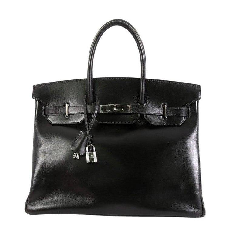 Hermes Birkin Handbag Noir Box Calf with Palladium Hardware 35 For Sale