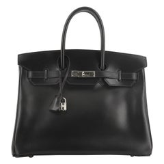 Hermes Birkin Handbag Noir Box Calf with Palladium Hardware 35