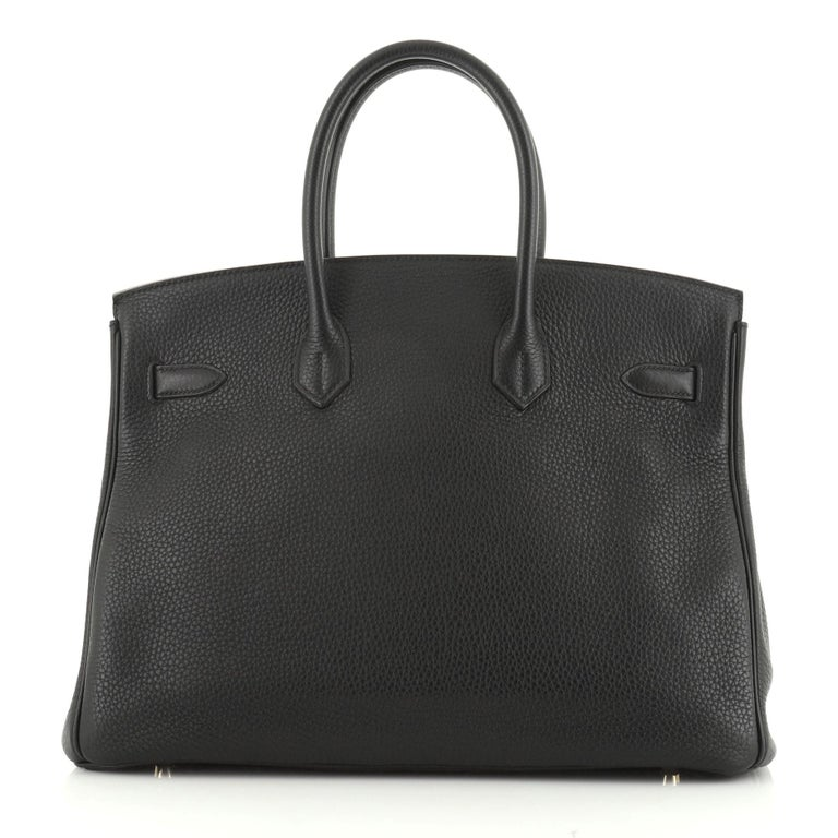 Hermes Birkin Handbag Noir Clemence with Gold Hardware 35 In Good Condition For Sale In New York, NY