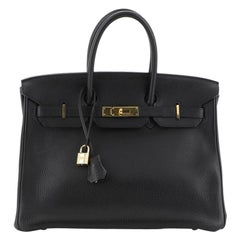 Hermes Birkin Handbag Noir Clemence With Gold Hardware 35