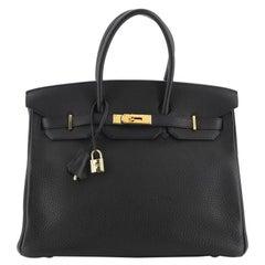 Hermes Birkin Handbag Noir Clemence with Gold Hardware 35