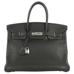 Hermes Birkin Handbag Noir Clemence with Palladium Hardware 35