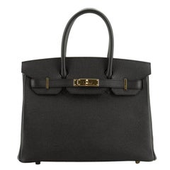 Hermes Birkin Handbag Noir Epsom With Gold Hardware 30