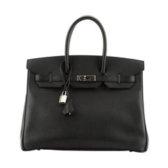 Hermes Birkin Handbag Noir Epsom With Palladium Hardware 35