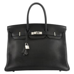 Hermes Birkin Handbag Noir Evergrain With Palladium Hardware 35