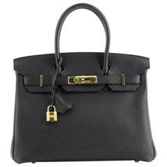 Hermes Birkin Handbag Noir Fjord with Gold Hardware 30