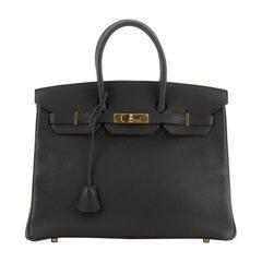 Hermes Birkin Handbag Noir Fjord With Gold Hardware 35