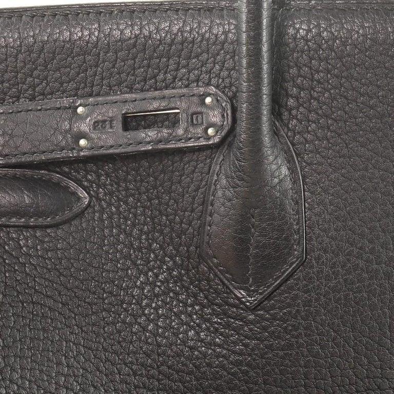 Hermes Birkin Handbag Noir Fjord with Palladium Hardware 35 For Sale 6