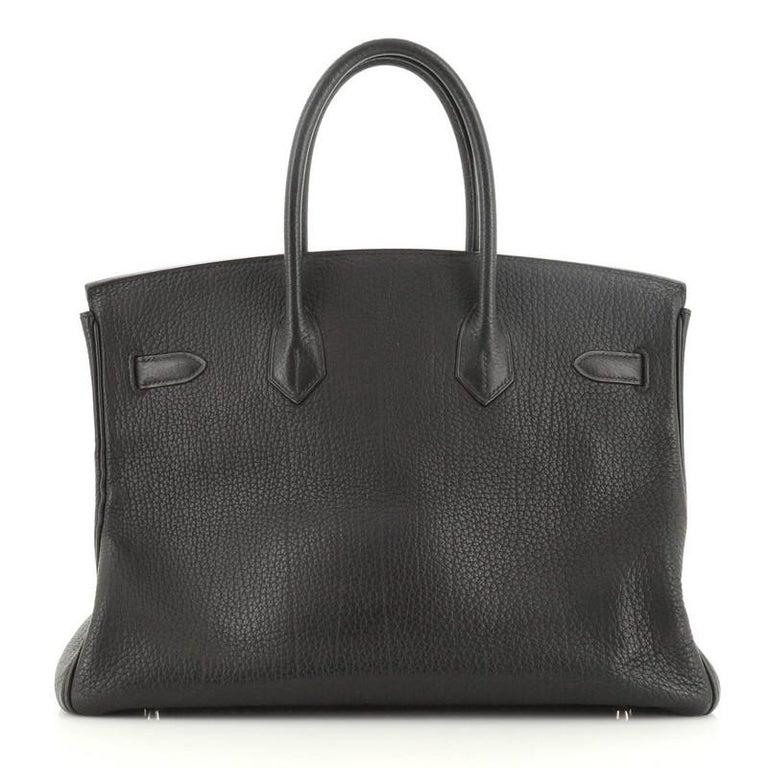 Hermes Birkin Handbag Noir Fjord with Palladium Hardware 35 In Good Condition For Sale In New York, NY