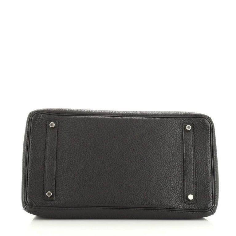 Women's or Men's Hermes Birkin Handbag Noir Fjord with Palladium Hardware 35 For Sale