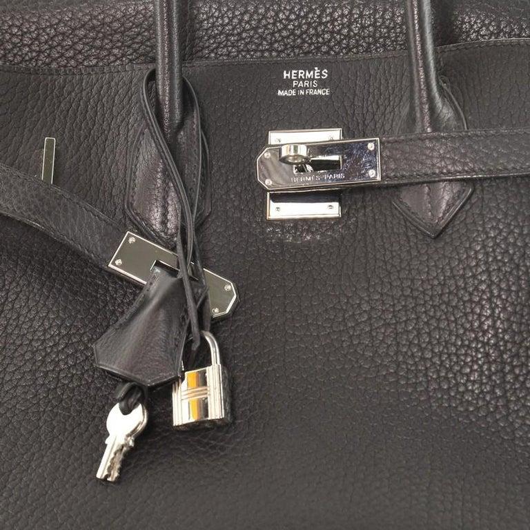 Hermes Birkin Handbag Noir Fjord with Palladium Hardware 35 For Sale 2