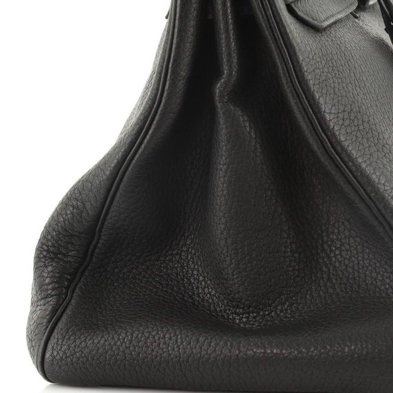 Hermes Birkin Handbag Noir Fjord with Palladium Hardware 35 For Sale 3