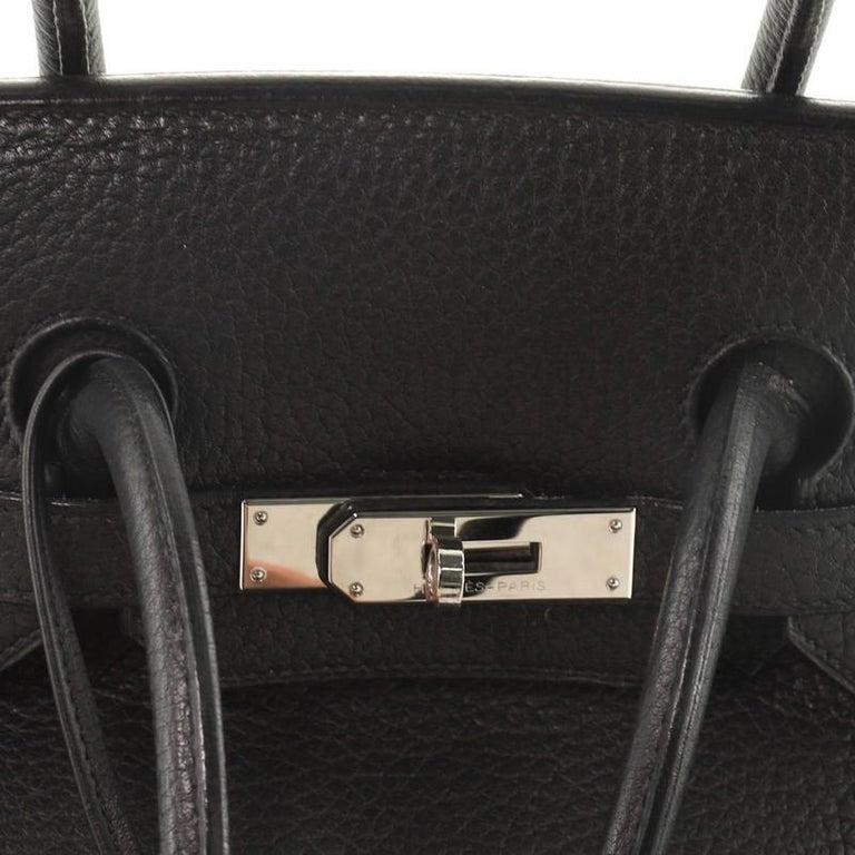 Hermes Birkin Handbag Noir Fjord with Palladium Hardware 35 For Sale 4