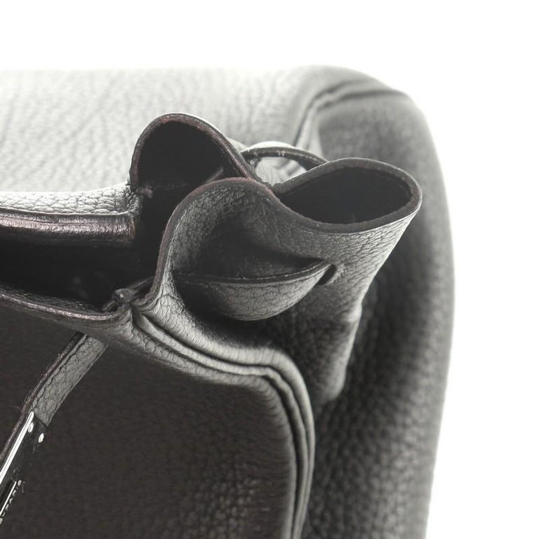 Hermes Birkin Handbag Noir Fjord with Palladium Hardware 35 For Sale 5