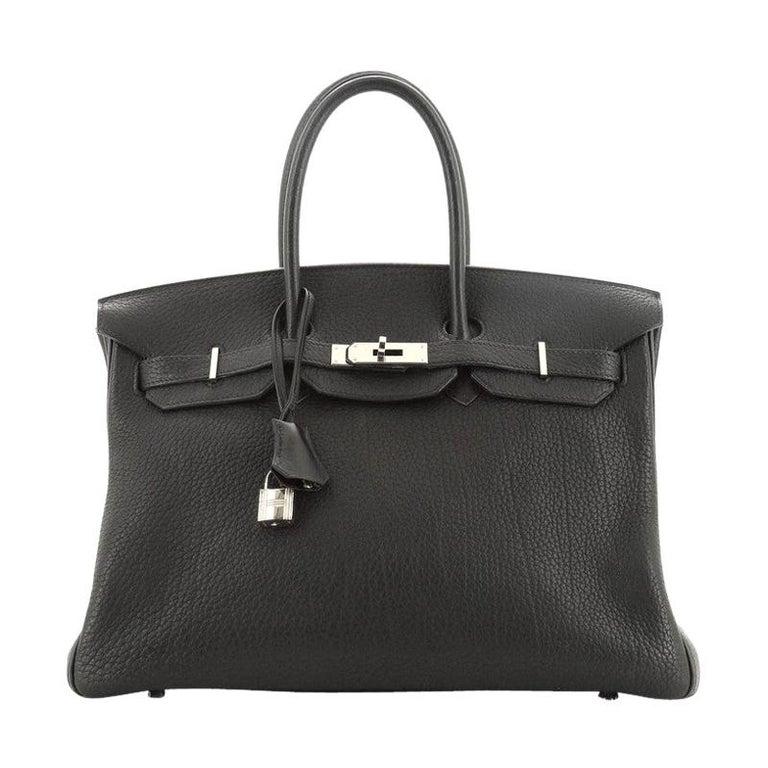 Hermes Birkin Handbag Noir Fjord with Palladium Hardware 35 For Sale