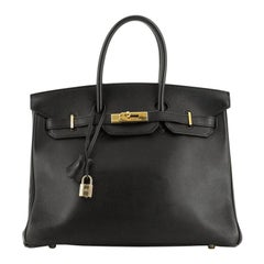 Hermes Birkin Handbag Noir Gulliver With Gold Hardware 35