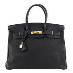 Hermes Birkin Handbag Noir Togo with Gold Hardware 35