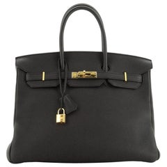 Hermes Birkin Handbag Noir Togo With Gold Hardware 35