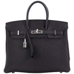 Hermes Birkin Handbag Noir Togo with Palladium Hardware 25