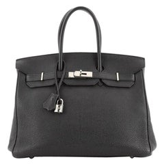 Hermes Birkin Handbag Noir Togo with Palladium Hardware 35